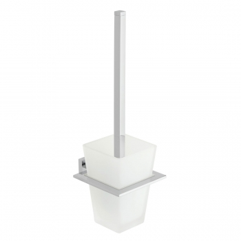 Product Photograph for a Level Toilet Brush and Frosted Glass Holder