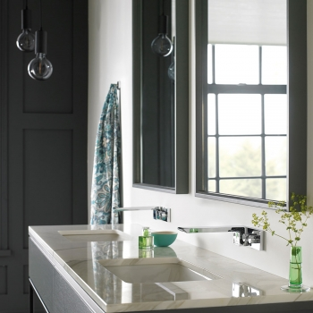 Lifestyle Photograph Featuring an Omika Wall Mounted Basin Mixer Tap