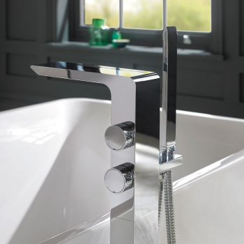 Lifestyle Photograph Featuring an Omika Floor Standing Bath Shower Mixer Tap with Shower Kit