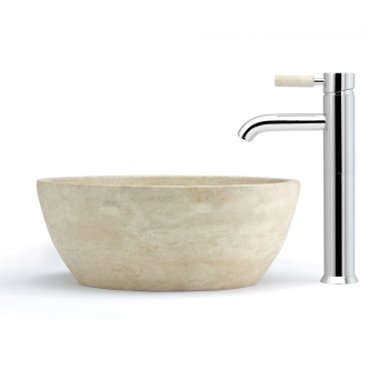 Lifestyle Photograph Featuring an Origins Extended Mono Basin Mixer Tap with Stone Handle