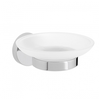 Product Photograph for an Axces by VADO Sirkel Frosted Glass Soap Dish and Holder
