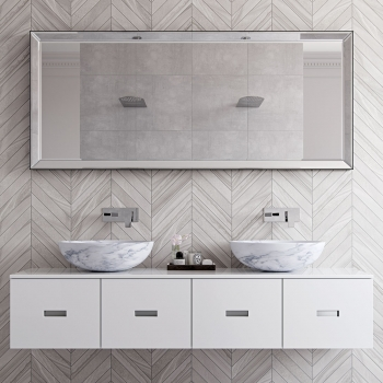 Lifestyle Photograph Featuring a pair of Synergie Wall Mounted Basin Mixer Taps