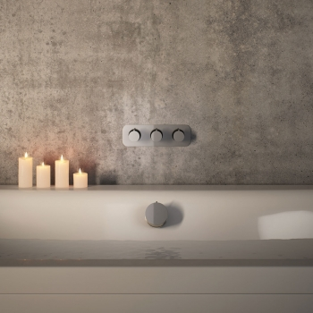 Lifestyle Photograph for a Tablet Altitude Concealed Thermostatic Shower Valve and Twist Type Bath Filler Waste with Overflow