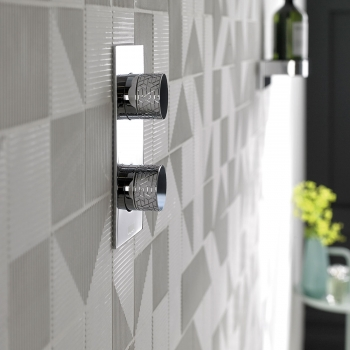 Lifestyle Photograph Featuring a Tablet Omika 2 Outlet Thermostatic Shower Valve