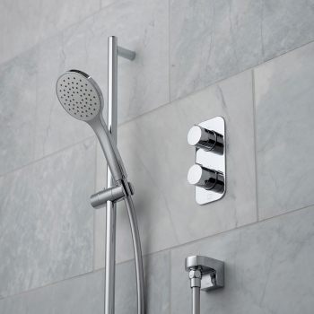 Lifestyle Photograph Featuring a Tablet Altitude 1 Outlet Thermostatic Shower Package
