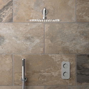 Lifestyle Photograph Featuring a Tablet Altitude 2 Outlet Thermostatic Shower Package