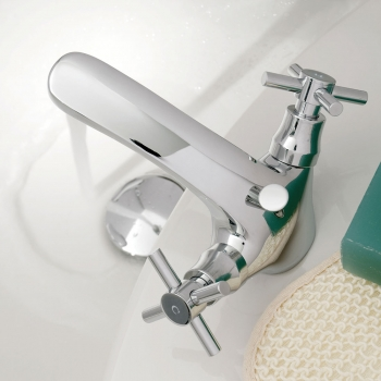Lifestyle Photograph Featuring a Vecta Mono Basin Mixer Tap with Pop-up Waste