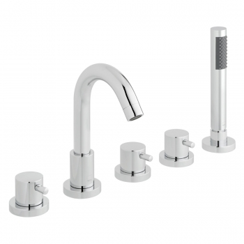 Product Photograph Featuring a Zoo 5 Hole Bath Shower Mixer with Shower Kit and Spout